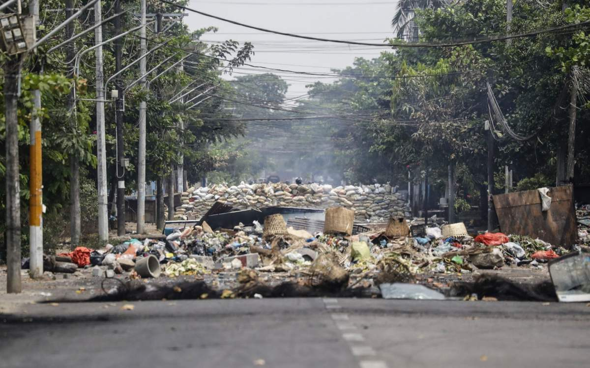 A barricade made by protesters on an empty street during a protest against the military coup in Yangon, Myanmar, March 30 2021