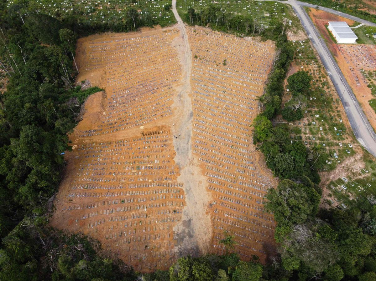 Aerial view of the Nossa Senhora Aparecida cemetery in Manaus, Amazonas state, Brazil. The site was cleared in early 2020 as coronavirus deaths first surged - it is now full
