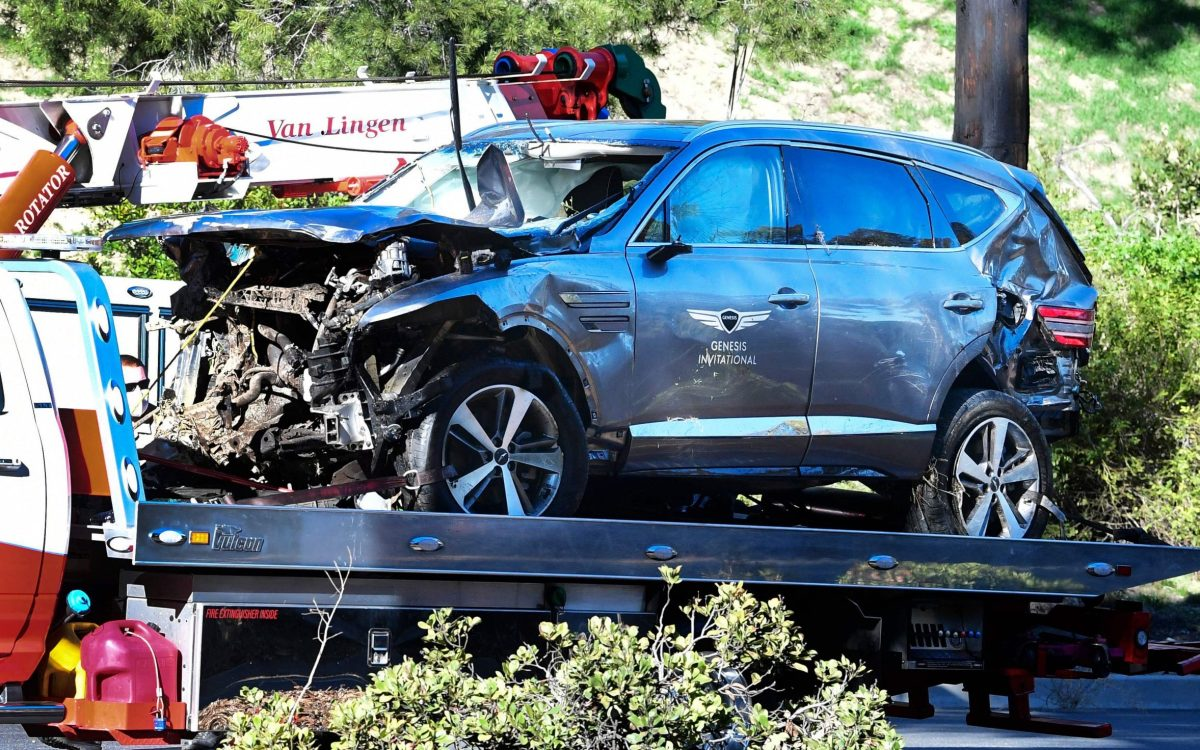 There was extensive damage to Tiger Woods' SUV