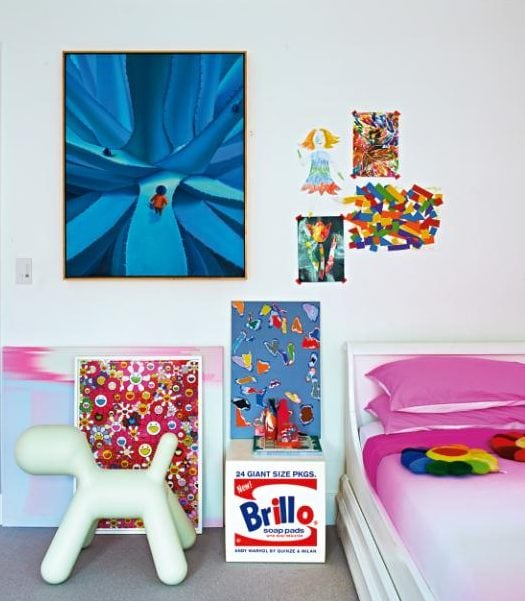 Contemporary art decorates a youngster's bedroom