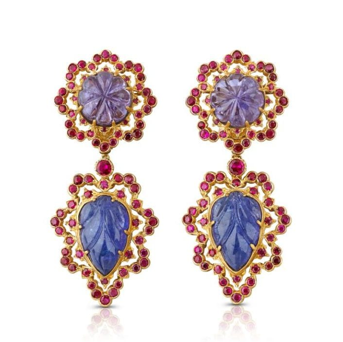 Buccellati gold, sapphire, amethyst and ruby pendant earrings