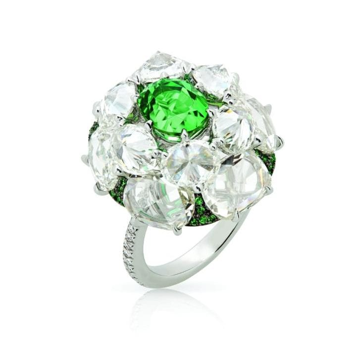 Nirav Modi Electric Green ring with diamonds, tsavorites and kornerupine