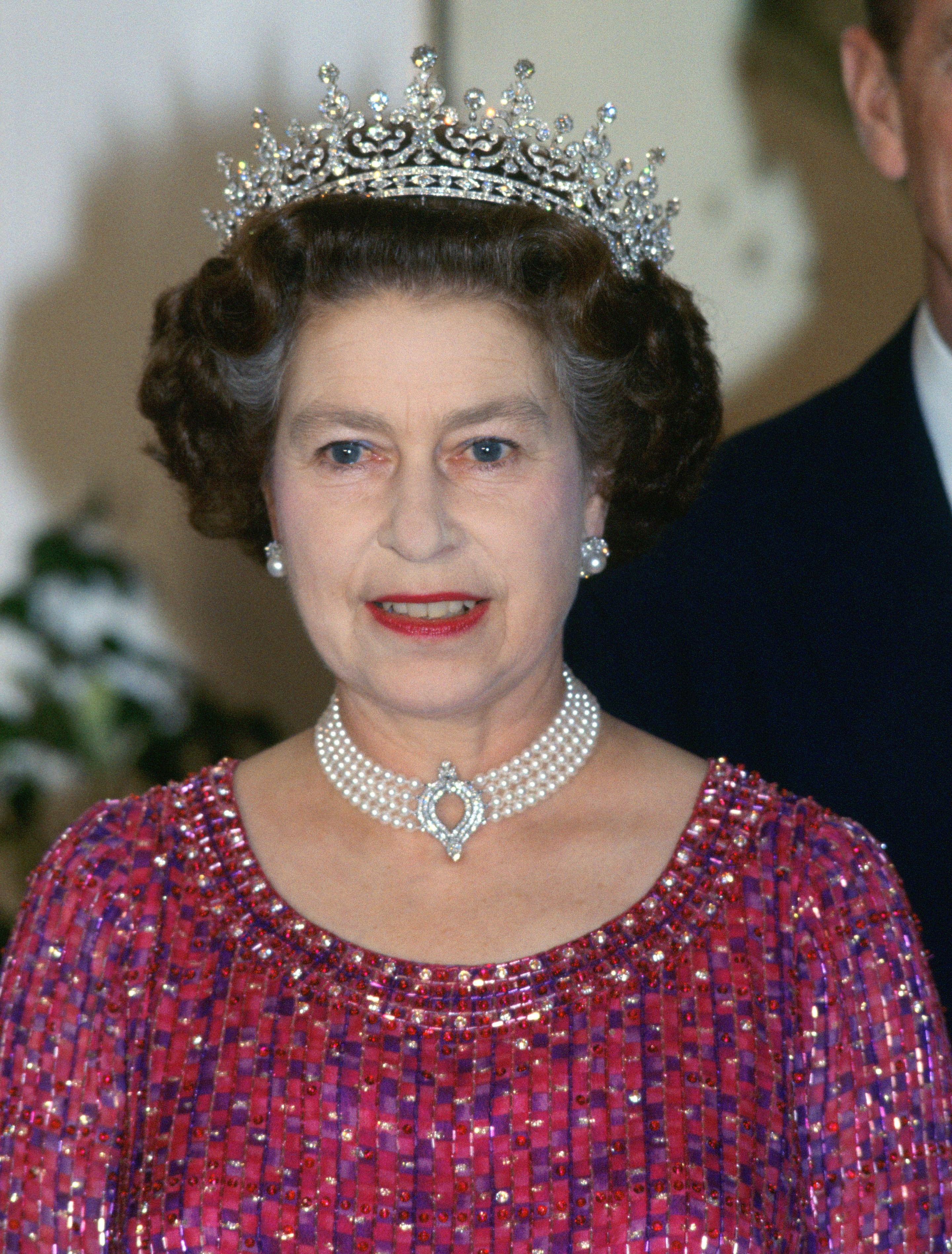 Queen Elizabeth II wearing the pearl and diamond choker to an engagement in Bangladesh in 1983