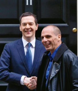 George Osborne with Yanis Varoufakis outside Number 11 Downing Street