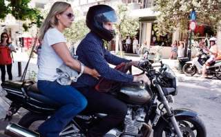 Yanis Varoufakis with his wife Danae Stratou in central Athens