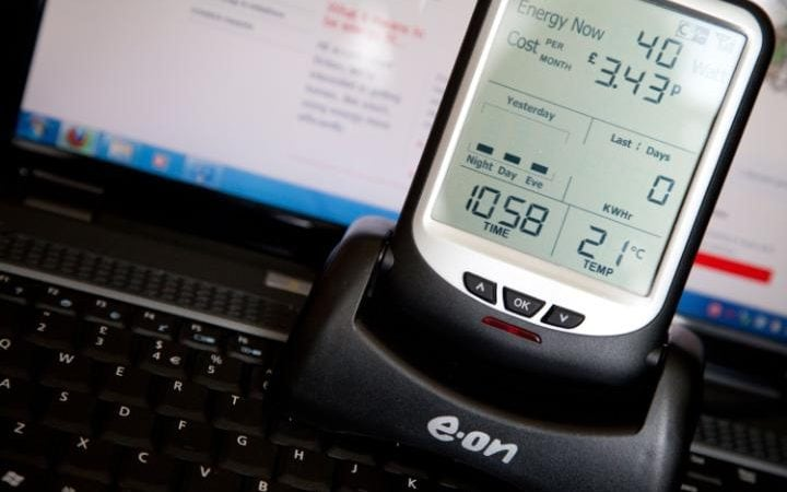 An EON electricity smart meter monitoring live consumption of electricity in a domestic property