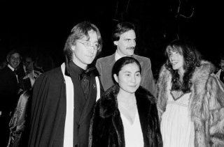 Carly Simon (pregnant) Yoko Ono James Taylor and John Lennon; circa 1960; New York