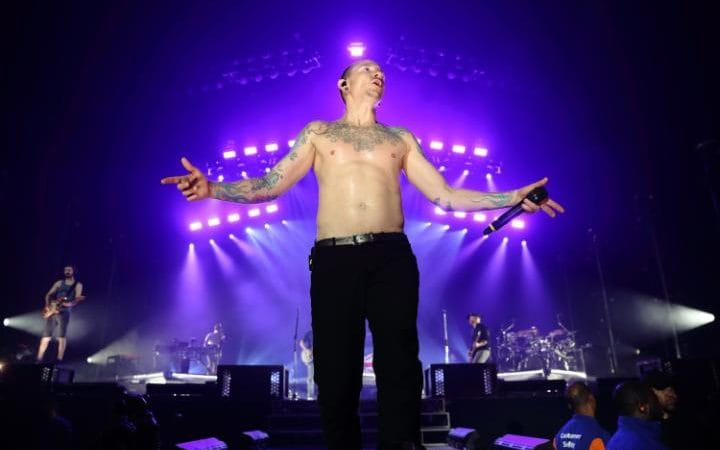Chester Bennington of Linkin Park performs at The O2 Arena on July 3, 2017 in London