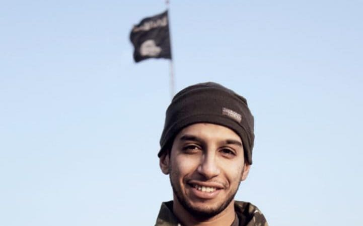 This file photo taken on November 16, 2015 shows an alternative crop of an undated picture from the February 2015 issue 7 of the Islamic State (IS) group online English-language magazine Dabiq, purportedly showing 27-year-old Belgian IS group leading militant Abdelhamid Abaaoud