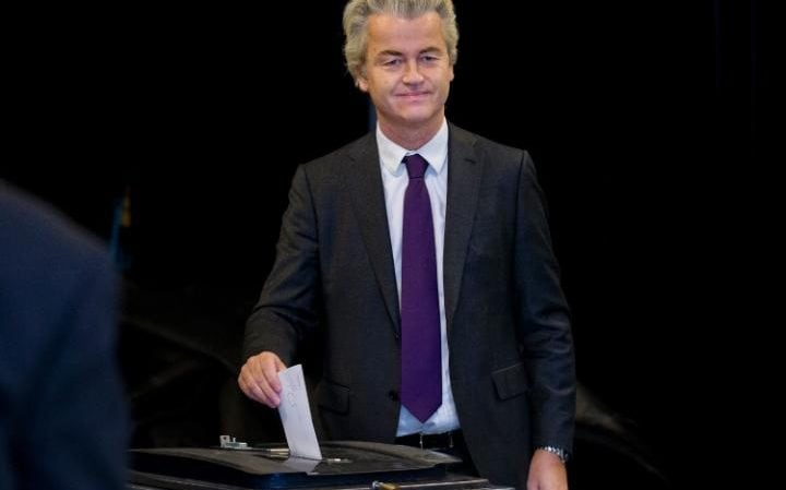 Firebrand Dutch lawmaker Geert Wilders casted his vote in a non-binding referendum on the EU-Ukraine association agreement in The Hague