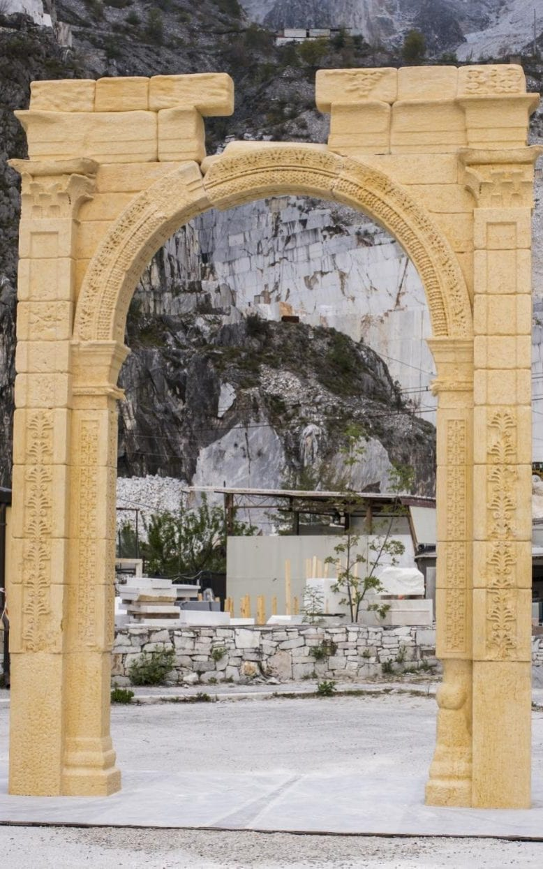 The 15ft replica arch, almost complete, as it is built at the Italian marble caves of Carrara