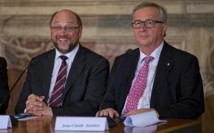 Jean-Claude Juncker, presidente de la Comisión Europea, en Roma con Martin Schulz, presidente del Parlamento