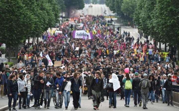 Demonstrators gather in Nantes to protest against the government's planned labour law reforms