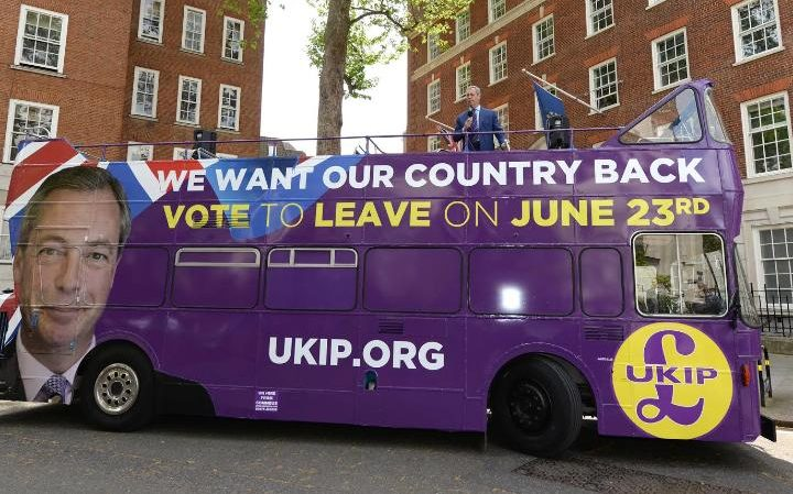 Ukip leader Nigel Farage at the launch of the party's open top campaign bus