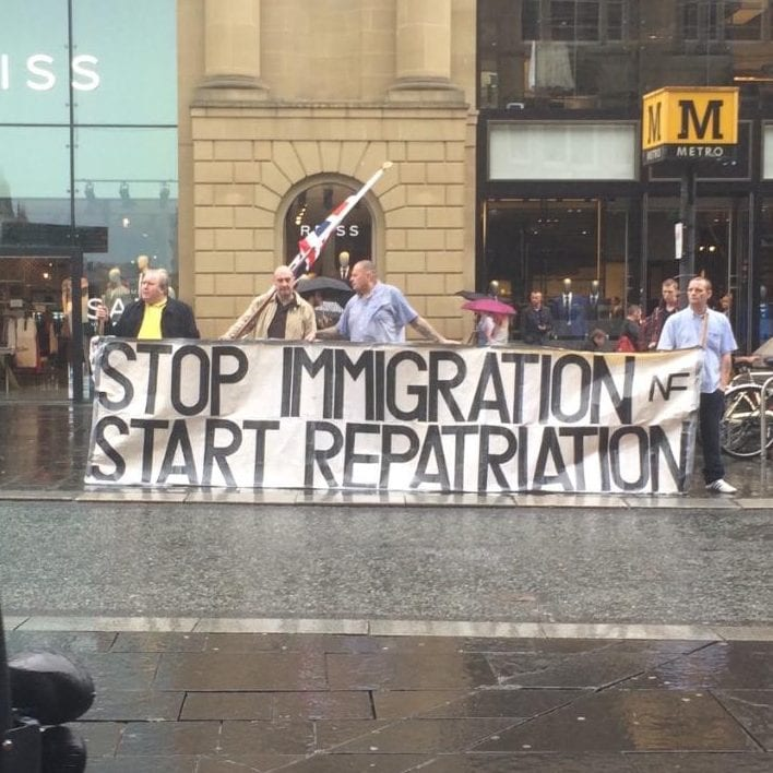 A protest in Newcastle on Saturday afternoon