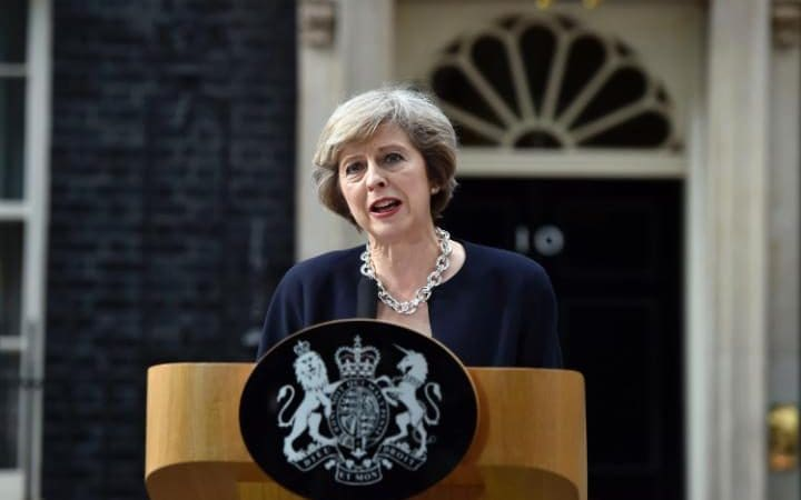 Image result for image of Theresa May at downing street