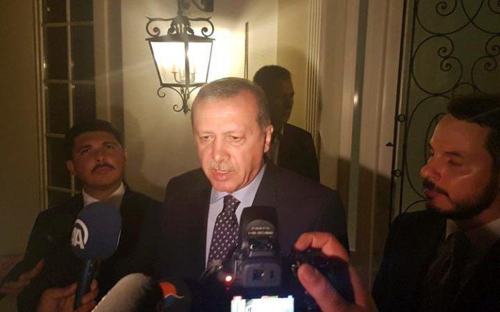 Turkish President Tayyip Erdogan speaks to media in the resort town of Marmaris, Turkey