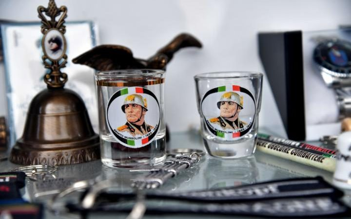 Mussolini souvenirs for sale in his birthplace