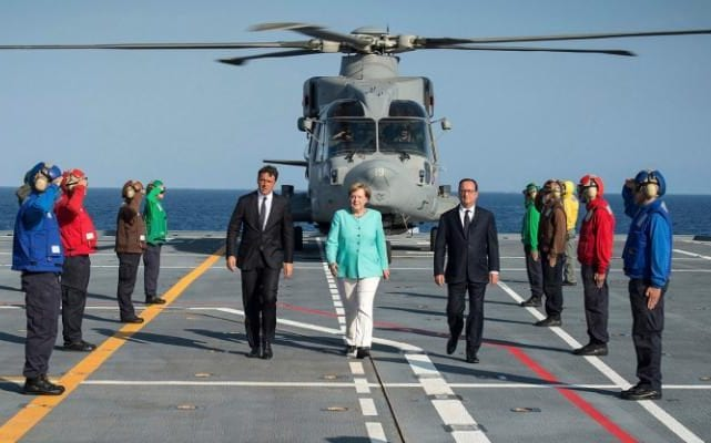 Italian Prime Minister Matteo Renzi (C-L) French President Francois (C-R) Hollande and German Chancellor Angela Merkel (C) arriving for their meeting in Ventotene island, Tirreno sea, Italy,