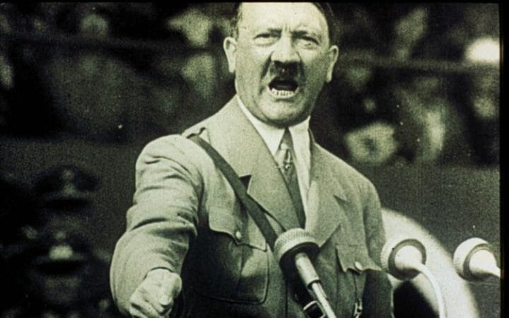 Hitler giving a speech in the early 1940s