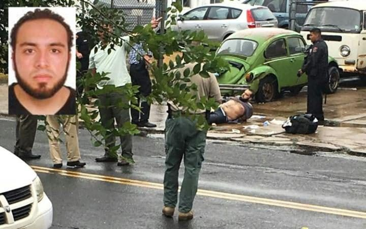 An unverified picture on Twitter reportedly shows the moment the suspect Ahmad Khan Rahami is arrested