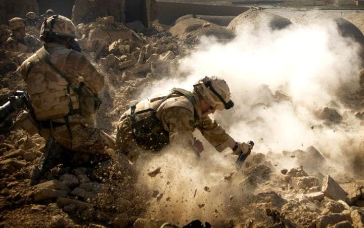 British Royal Marines Fire in Bariju, Northern Helmand, Afghanistan in 2007
