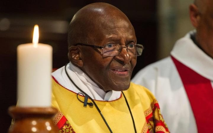 Archbishop Desmond Tutu celebrating mass at St George's Cathedral, Cape Town, on his 85th birthday