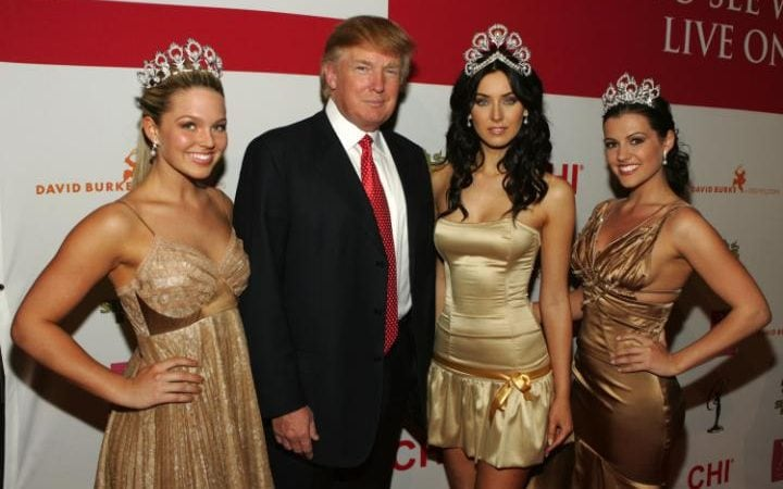NEW YORK - APRIL 18: (L-R) Miss USA 2005, Chelsea Cooley, Donald Trump, Miss Universe 2005, Natalie Glebova, and Miss Teen US