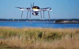 Danger to animals? A drone delivering a package across countryside