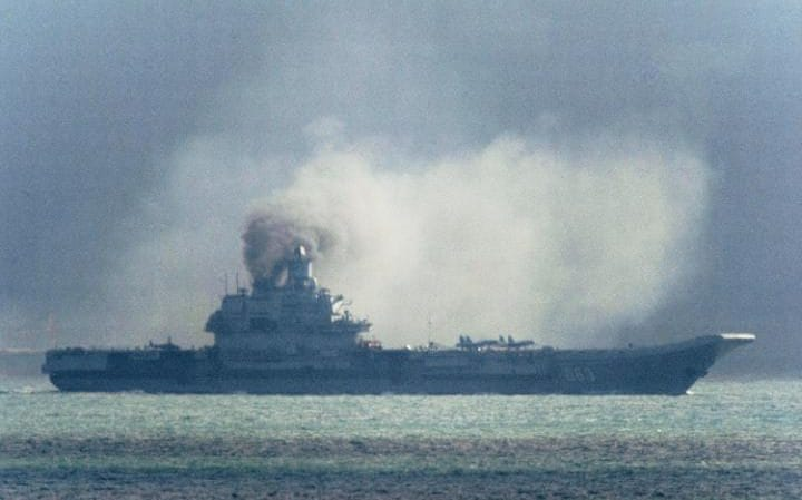 The Russian aircraft carrier Admiral Kuznetsov passes within a few miles of Dover as a fleet of Russian warships sail through the North Sea on their way to reinforce the attack on the besieged city of Aleppo in Syria