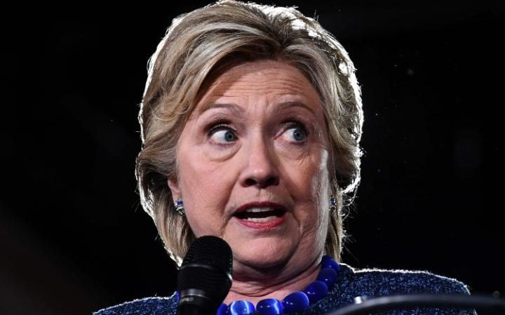 """Hillary Clinton speaks during a Democratic party """"Women Win"""" early vote rally in Des Moines on Friday night"""