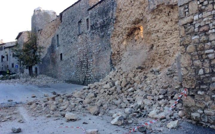 Debris after a wall collapse following the strong earthquake that hit Norcia,