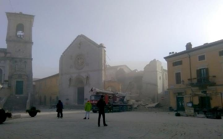 Town plaza in Norcia, October 30, 2016