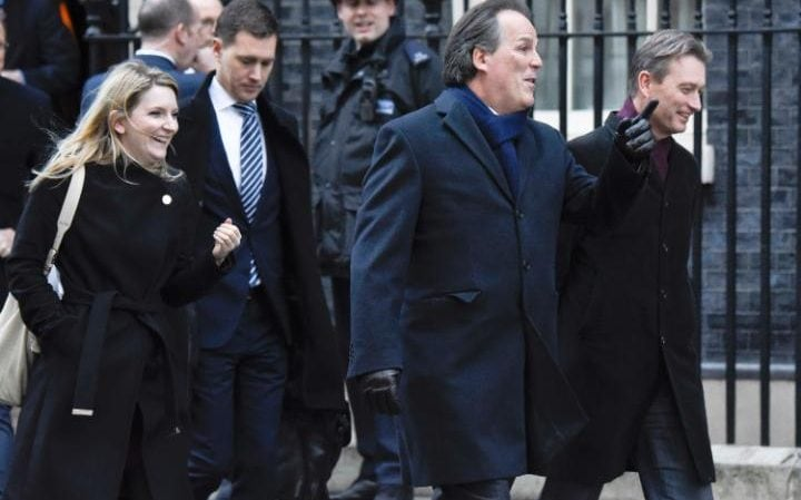 Mark Field leaving Downing Street with female aide who carried Brexit memo