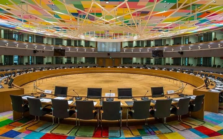 The room where European leaders will hold their summit meetings