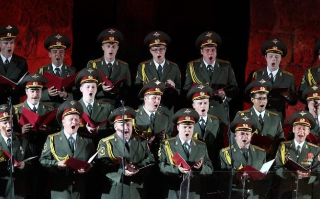 A file picture shows members of the Russian Red Army Choir