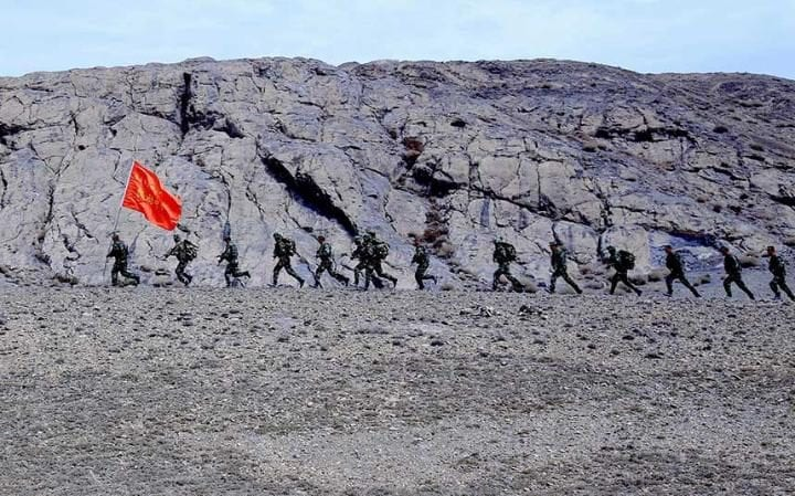 Local border security troops carrying out training in Xinjiang last year