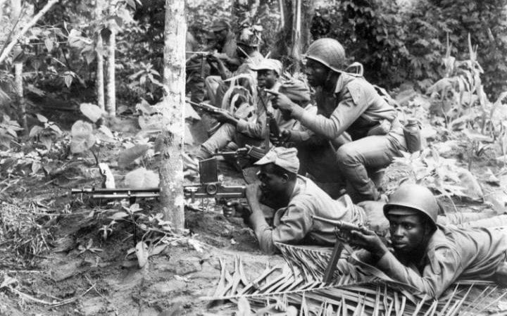 Biafran troops resisting federal attack in August 1967