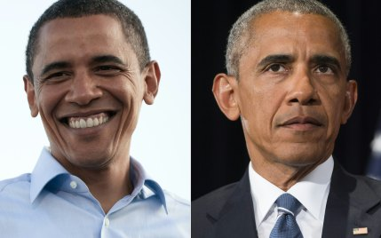 Obama then and now: How Barack has aged during eight years in the White House