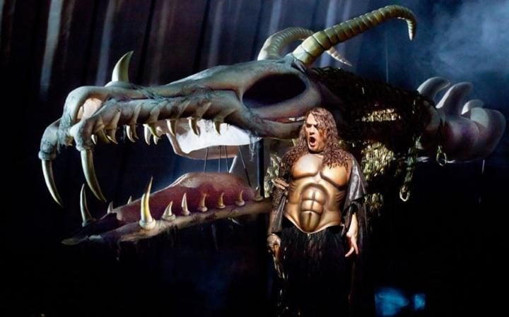 Bryn Terfel in Wagner's 'Das Rheingold' at the Metropolitan Opera House in New York sings gustily, with a bronze breastplate fashioned to look like a chiselled naked torso, a mane of long curly hair, and a large, somewhat goofy-looking dragon skeleton in the background