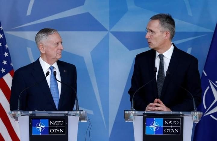 U.S. Defense Secretary Jim Mattis and NATO Secretary-General Jens Stoltenberg brief the media during a NATO defence ministers meeting at the Alliance headquarters in Brussels, Belgium, February 15, 2017. REUTERS/Francois Lenoir