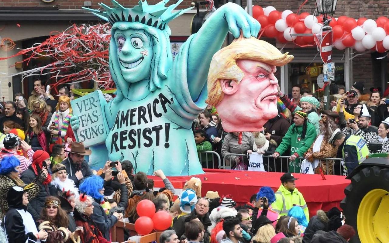 German Carnival Mocks Donald Trump And Theresa May With