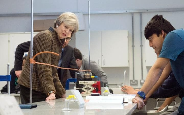 Theresa May at school