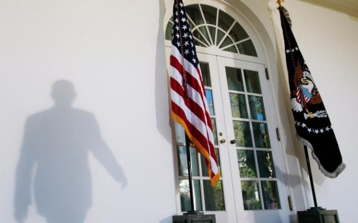 The entrance to the White House