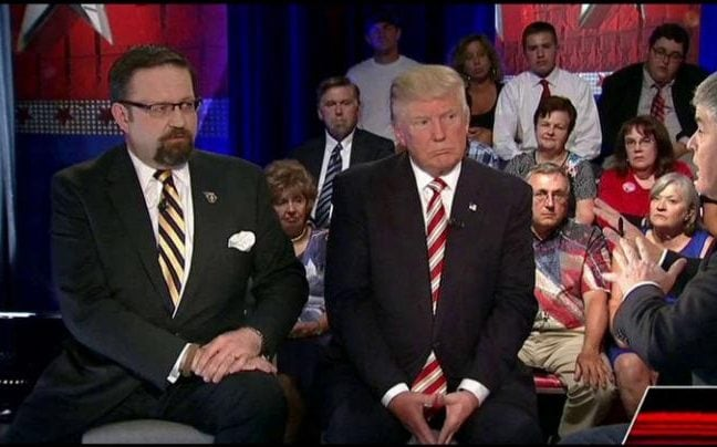 Trump and Gorka on  the Fox News Hannity  show in August 2016