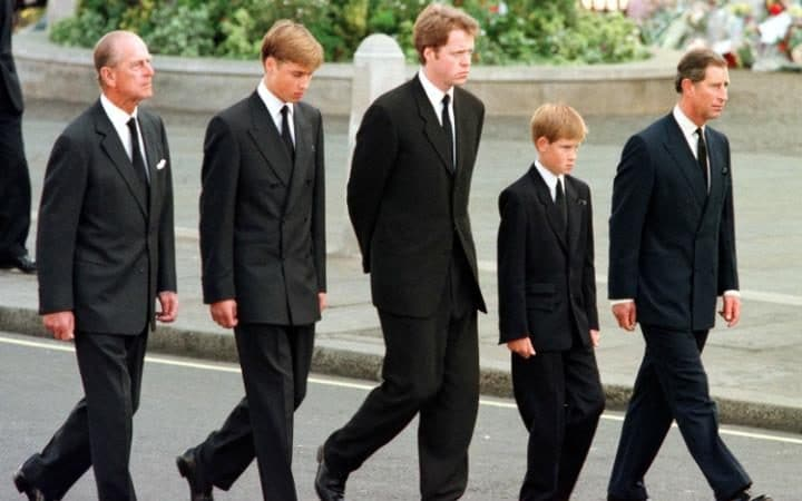 Prince Philip, Prince William, Earl Spencer, Prince Harry and Prince Charles walk behind Diana's coffin