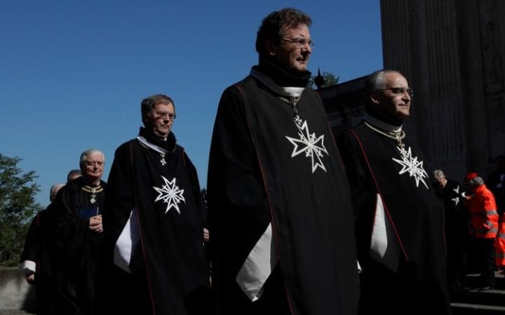 Albrecht von Boeselager, second from right, walks in procession along with other Knights of Malta before the election of the new Grand Master