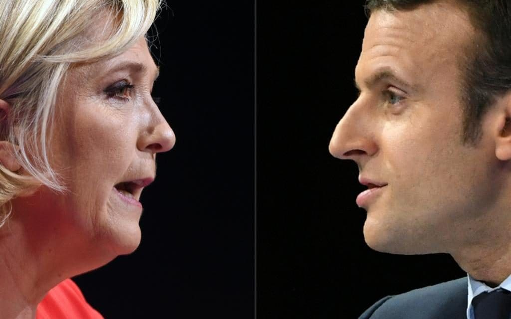 French presidential candidates Marine Le Pen (L) and Emmanuel Macron (R)