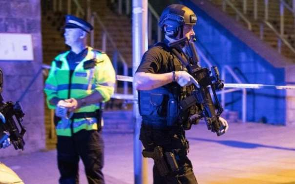 Armed police outside the Manchester Arena following the attack