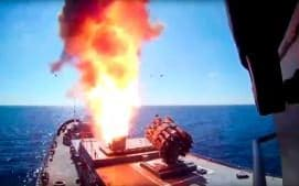 The Russian frigate Admiral Essen fires a Kalibr cruise missile from the eastern Mediterranean